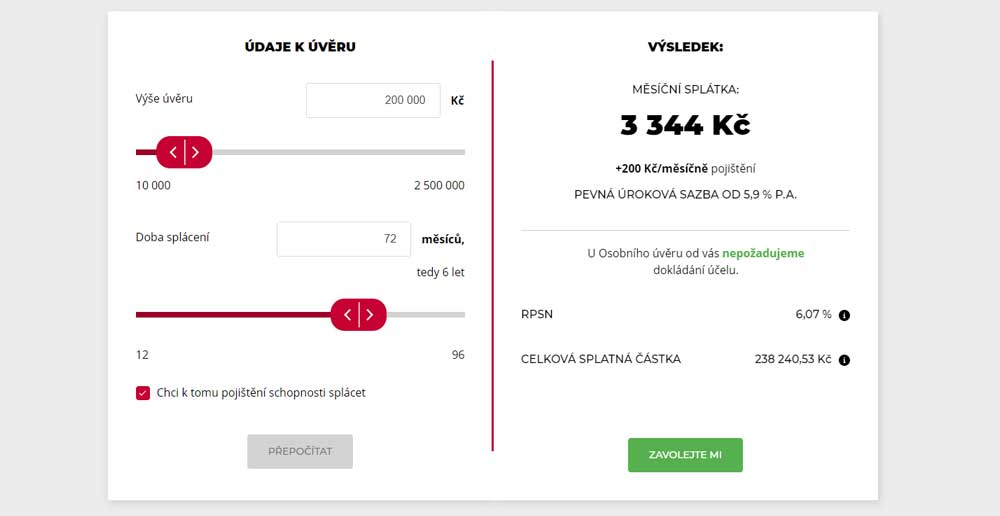 Ukázka kalkulačky půjčky od Komerční banky