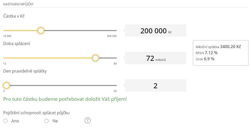 Ukázka kalkulačky mPůjčky od mBank