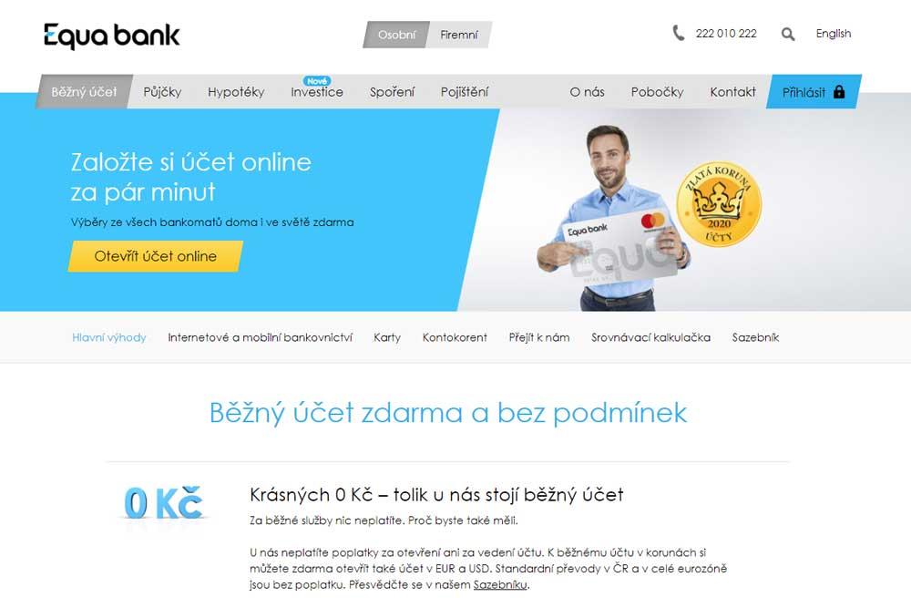 Bankovní účet Equa bank zdarma